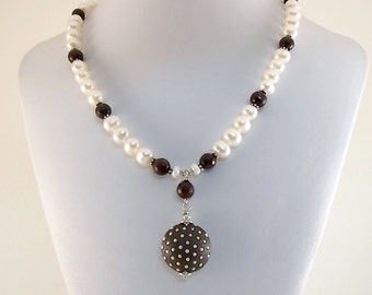 Brown Dotted Pearl Necklace - Freshwater Pearl Necklace - Coffee Jade Necklace - Brown and White Necklace - Golem Studio Necklace - Silver