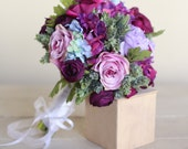 Silk Bridal Bouquet Purple Roses Succulents Rustic Chic Wedding NEW 2014 Design by Morgann Hill Designs