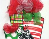 Red + Green Presents Door Hanger - Bronwyn Hanahan Art