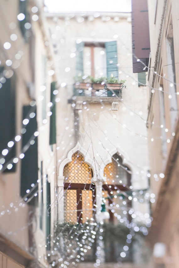 Venice Photography - Gothic Window with Fairy Lights, Carnival, Venice, Italy, Travel Photography, Large Wall Art