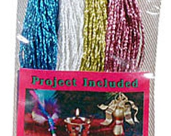 Reduced - Metallic Embroidery Floss - 4 Skeins - Blue-Pearl White-Rose Pink -Gold - Cross Stitch - Key Chains - Crafts - FREE Shipping