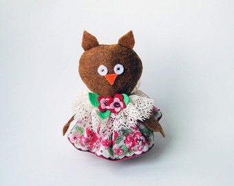 Felt Owl Ornament or Door Hanger in Brown Wearing a Vintage Handkerchief Dress in Pink, Cream and Green