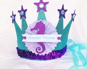 Sparkly Mermaid Princess Crown Party Hat in aqua turquiose, lavender and purple for The Little Mermaid Party