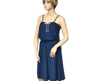 1970's Vintage Summer Sundress Matching Crop Jacket Navy Blue and White Polka Dot Vintage Sears Size 14