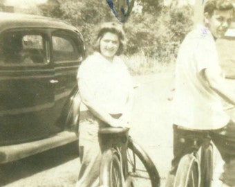 1944 Man Woman Going For A Bike Ride Husband Wife PA Bicycle Riding WW2 Vintage Black and White Photo Photograph