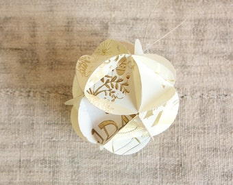 READY TO SHIP Large Geometric Upcycled Paper Ornament-Golden Wishes