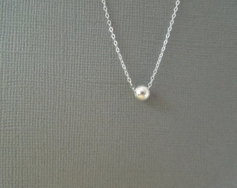 simple everyday jewelry, ball necklace, delicate, sterling silver,  bridesmaids gift, wedding, small, tiny