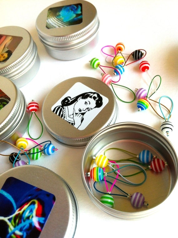 Quirky Christmas Stocking Ideas for the Crafter - Stitch Markers & Tin - QUIRKY COOL SELECTION
