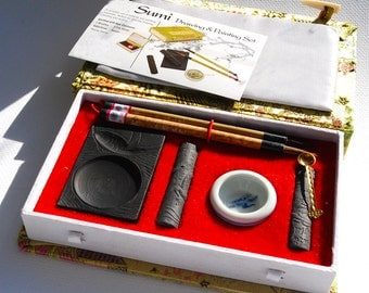 Sumi ink set, drawing and painting set  Chinese calligraphy, ink sticks, bowl, brushes fine art supplies
