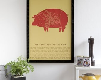 Portland Knows How to Pork - neighborhood butchery map poster