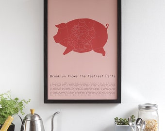 Brooklyn Knows the Tastiest Parts - neighborhood map & pig butchery poster