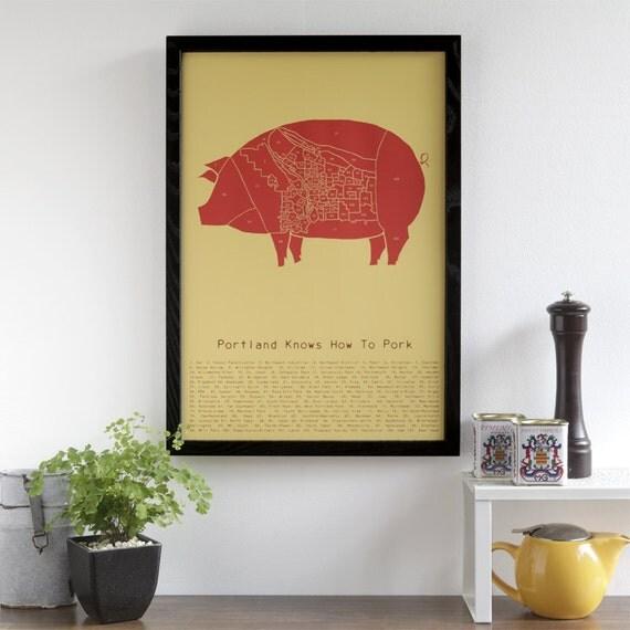 Portland Knows How to Pork - neighborhood butchery map poster