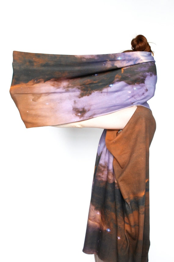 SALE. Eagle Nebula Infinity Scarf, Circle Scarf, Soft Organic Cotton Jersey.