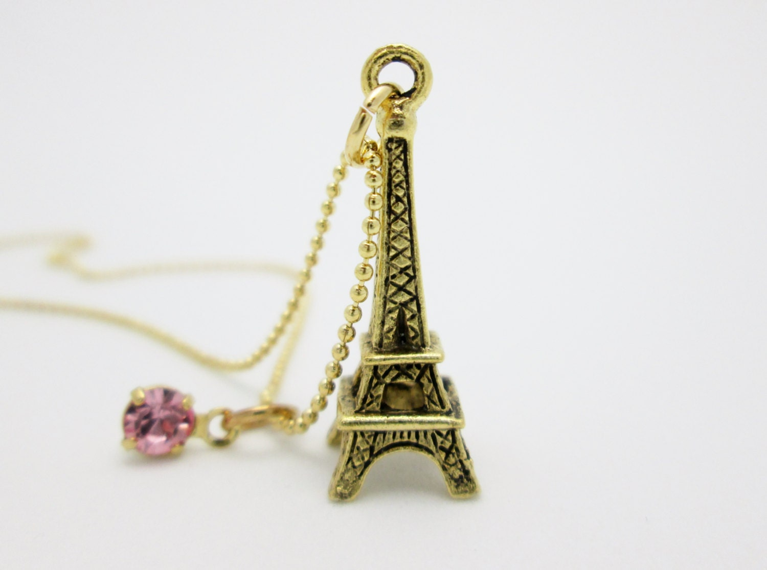 eiffel tower necklace gold eiffel tower charm with pink