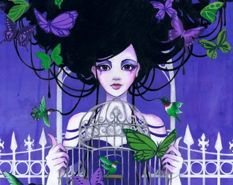 11x14 Litonya and the Butterfly Cage Fine Art Print