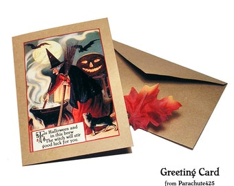 Halloween Card, WITCH WITH CAULDRON Greeting Card, vintage Halloween graphic, Halloween notecard, Halloween witch card, blank Halloween Card