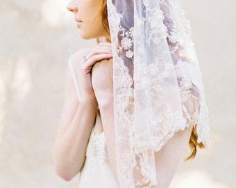 Bridal Veil, Wedding Veil, Blush Pink Floral beaded veil, Short Veil, mantilla  - Style 305