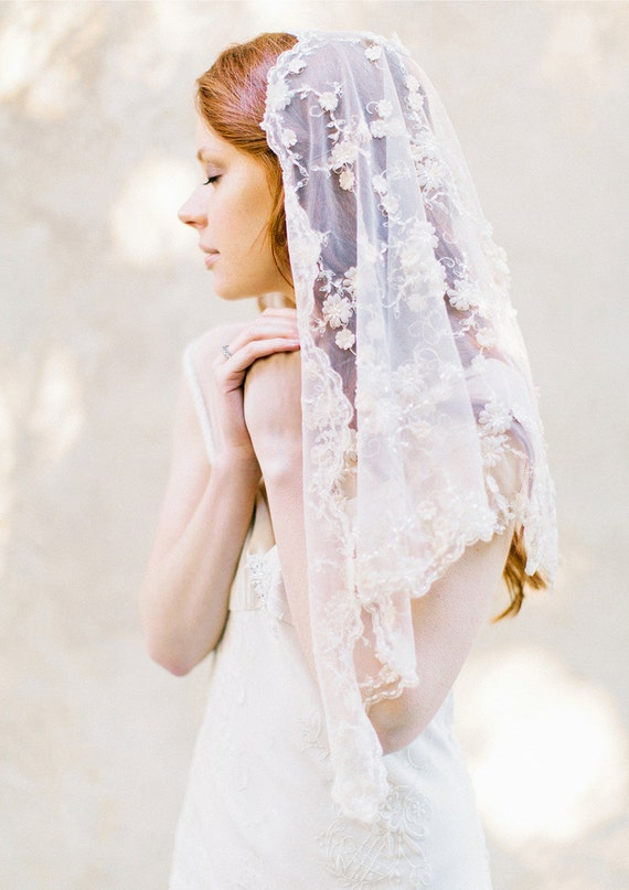 Bridal Veil, Wedding Veil, Blush Pink Floral beaded veil, Short Veil, mantilla - Style 305