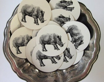 Rhinoceros Tags Round Paper Gift Tags Set of 10