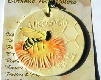 HONEY BEE ORNAMENT with honeycomb charm and free gift wrap