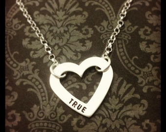 Hand Stamped, TRUE LOVE sterling silver necklace