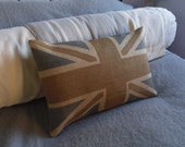 hand printed rustic browns union jack cushion cover