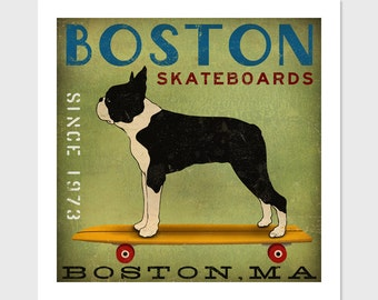 Custom FREE PERSONALIZATION Boston Terrier Longboards Skateboards  Print Signed Poster