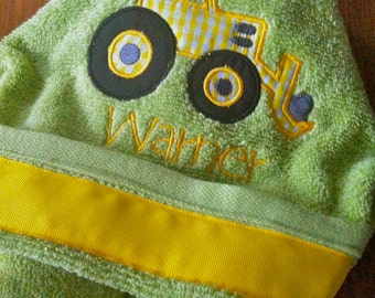 Green and Yellow Tractor Hooded Towel