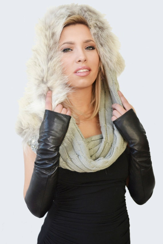 Infinity Fur Snood - Gray Cowl Scarf in Cable Knit and Coyote with Rhinestones Embellishment