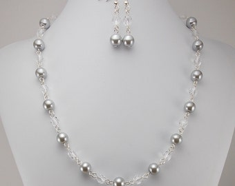 Necklace and Earring Set - Silver Gray Glass Pearls and Clear Glass