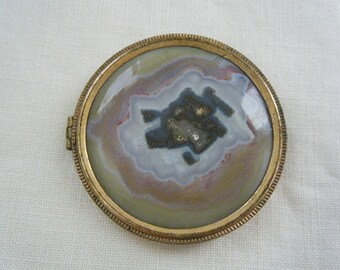 Victorian Round Polished Stone Brooch