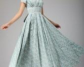 Maxi dress, Floral dress, Duck Egg blue, wedding dress, Prom Dress, party dress, bridesmaid dress, Linen dress,  women dress, custom (665)