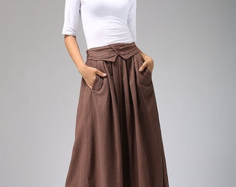 maxi skirt, brown Linen skirt- women maxi skirt with elastic waist - Pleated skirt -long skirt - tea length skirt -plus size available (690)