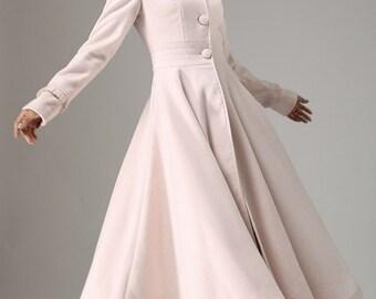 Fit and flare coat, pink coat, maxi coat, long coat, winter coat, coat dress, womens coats, hooded coat, boho coat, ruffle coat, gift727