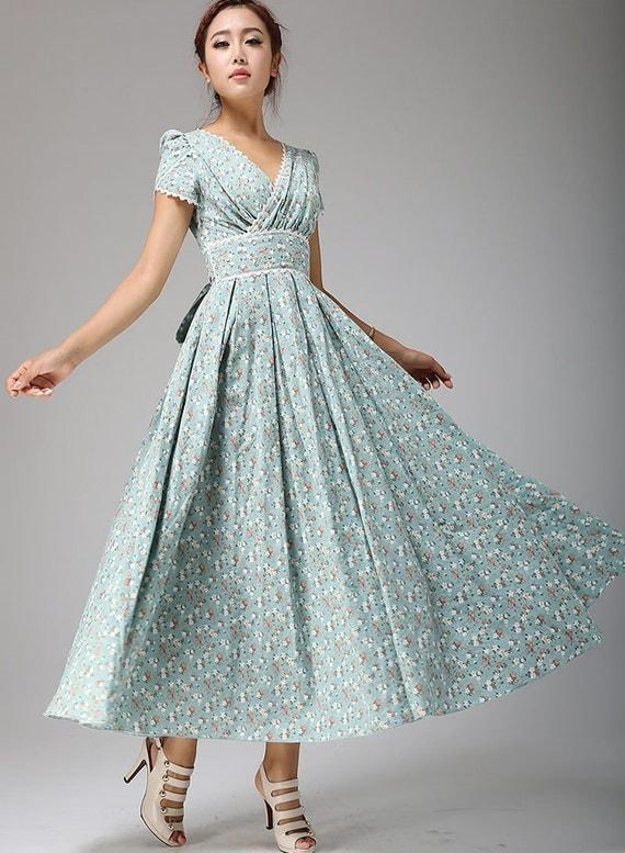 Linen Dress Floral Maxi dress - Soft Duck Egg wedding dress Flower Prom Dress with Lace Edging - Custom Made (665T)