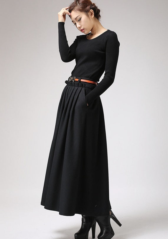 maxi skirtblack skirtwool skirtlong skirt pleated