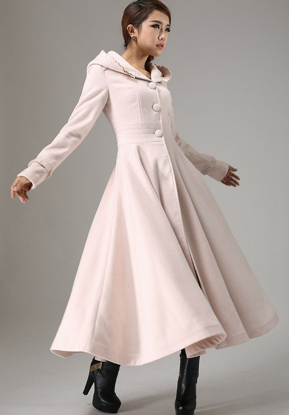 Long Winter Coat Pink coat long coat Maxi coat Dress coat