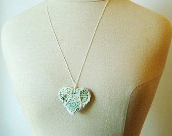 White Smoky Fishnet Steampunk Valentine, Pottery and Fiber Knotted Necklace HT20