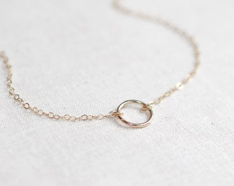 Circle Necklace | Tiny Halo Necklace 14kt Gold Filled