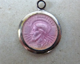 Vintage Pink Enamel Jesus Medal Rosary Charm Pendant