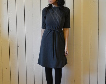 Women's Dress, Aline, Cotton Jersey, Geometric, Modern style, Mid Sleeve- made to order, one of a kind