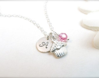 Cupcake Necklace with Initial Disc - Sterling Silver