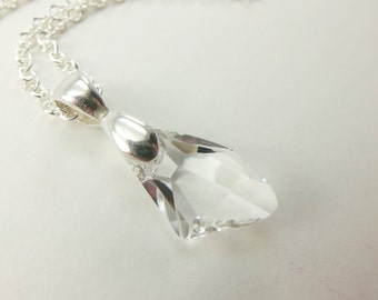 Clear Crystal Necklace Sterling Silver Necklace Clear Necklace Crystal April Birthstone