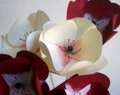 Snow Cherry Anemone Paper Flower Bouquet, Home Decor, Paper Art, Handmade Flowers, Table Decor, Wedding Decoration
