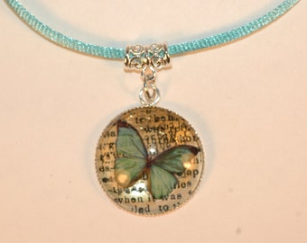 Blue Butterfly Glass Pendant