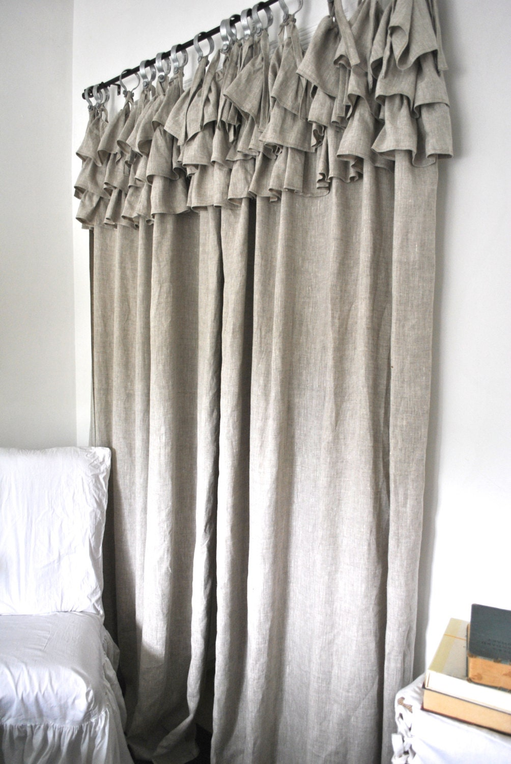 Ruffle Top Linen Curtain Ruffled Curtains