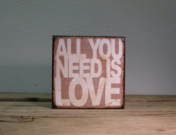 Inspirational Music Art Block Painting- The Beatles-All You Need Is Love - 1735