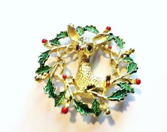 Vintage - Golden Rudolph the Red Nosed Reindeer Brooch