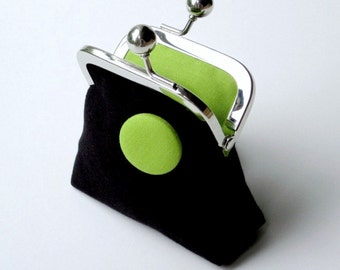 Black and lime green organic canvas coin purse with matching button detail...small change purse...eco Valentine gift for her...ON SALE