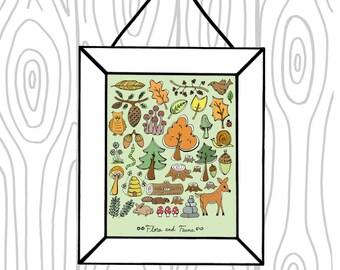 Green Orange Brown Yellow Woodland  8 x 10 Art Print - Woodland Flora Fauna - Animals, Trees, Leaves, Mushrooms Kids Decor